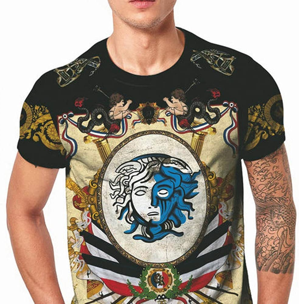 Men/'s Compression Shirt Trend 3D Digital Printing Court Totem Demon Loose Casual Short-Sleeved T-Shirt