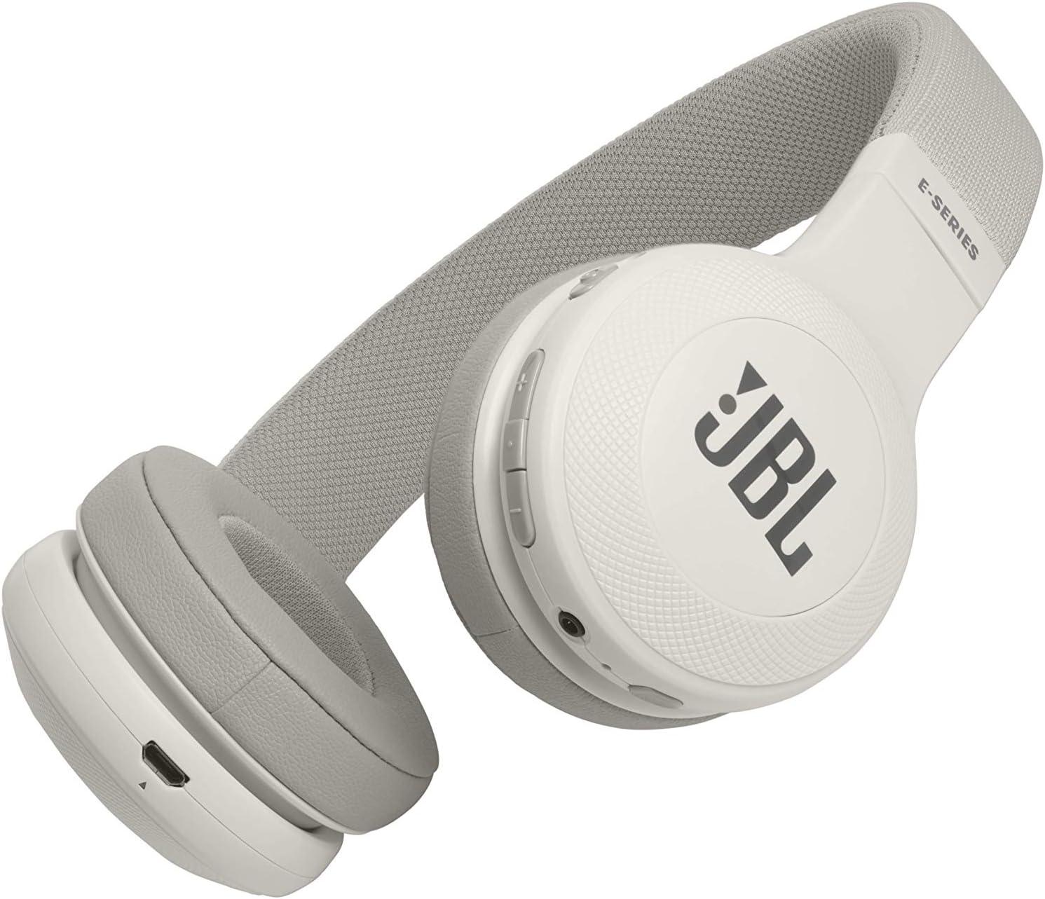 JBL E45BT - Auriculares supraaurales inalámbricos, plegable, incluye cable de tela con universal de 1 botón de mando a distancia con micrófono integrado, blanco