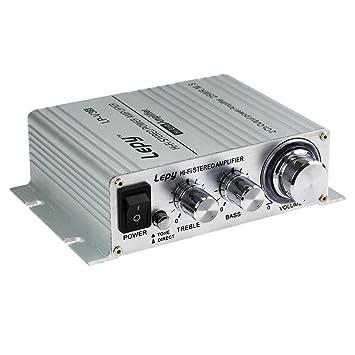 LEPY LP-V3S pequeño Amplificador HiFi para Coche, PC, Casa, Corriente DC 12 V: Amazon.es: Coche y moto