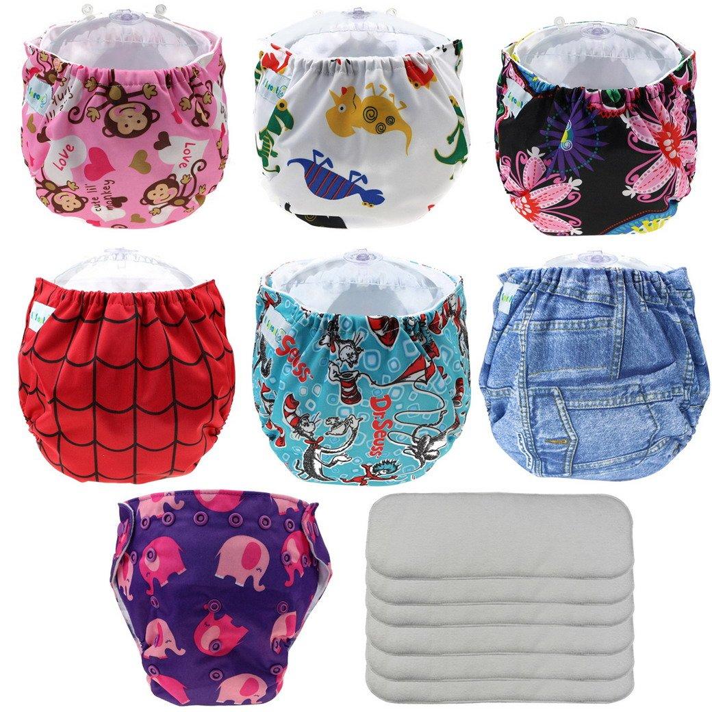 Happy Cherry Pañales de Tela Reutilizables Lavables Conjunto de 7 Pañales con 6 Absorbentes Baby Diaper Nappy