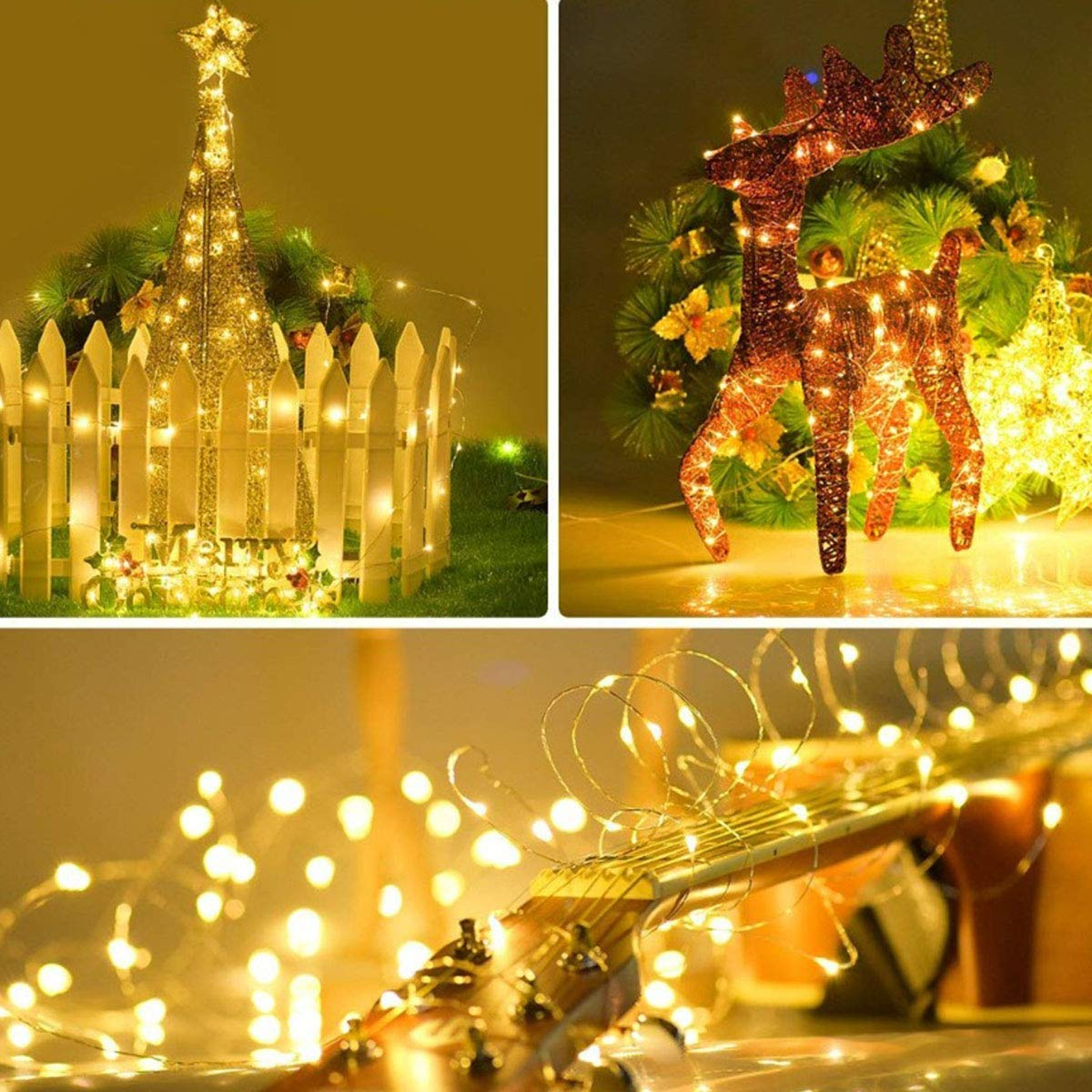 Inshere Upgraded Solar String Lights, 2 Pack of 66ft 200LED Outdoor Waterproof Fairy Copper Wire Lights with 8 Modes for Home Patio Yard Party Wedding Halloween Christmas Decor(Warm White)