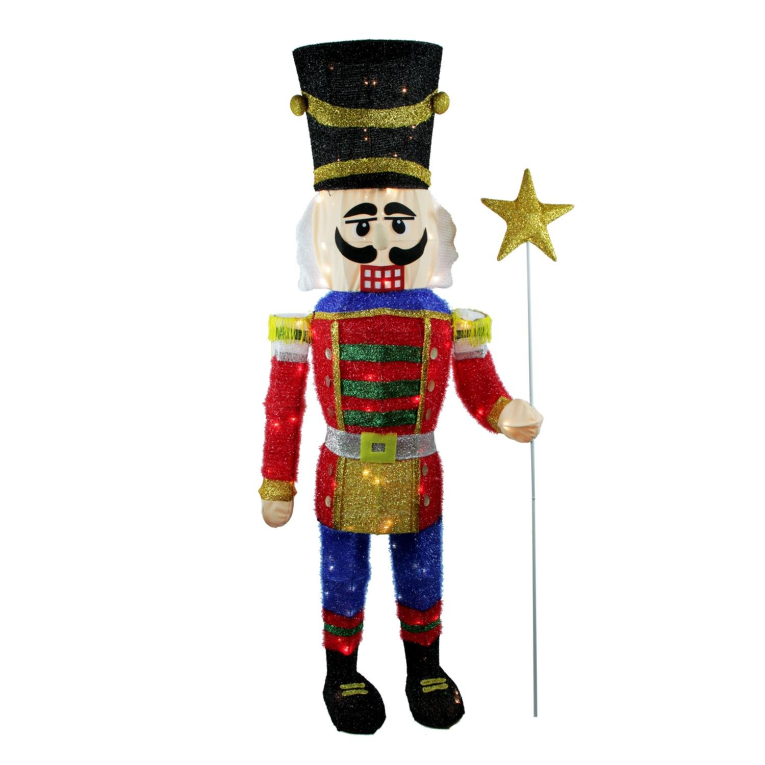 Northlight Seasonal 65'' Lighted Sparkling Tinsel Nutcracker Christmas Yard Art Decoration -