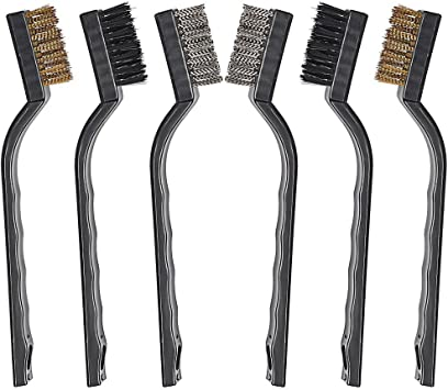 6Pc WIRE BRUSH SET Small Long Steel Brass Nylon Metal Rust Paint Remover Cleaner