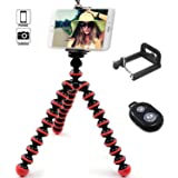 IYOOVI Mini Universal Portable Octopus Flexible Cell Phone Tripod for Iphone, Cell phone and Smartphone with Phone Mount Holder and Bluetooth Remote Shutter