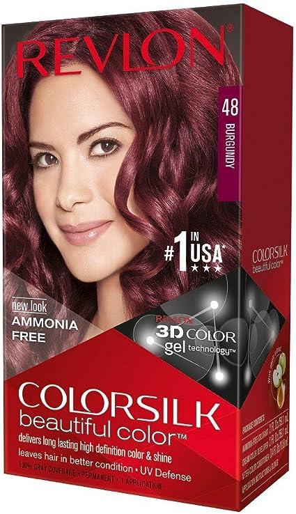 Colorsilk por Revlon, Permanente sin amoníaco, Color de pelo: Borgoña #48-1 Ea (Paquete de 3)