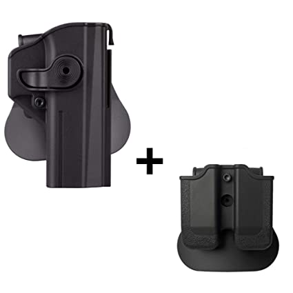 IMI CZ Shadow 2 Holster + Double Magazine Pouch, Polymer Retention 360 roto  Level 2 Safety w Trigger Guard Lock Tactical Gun Holster for CZ P-09 &