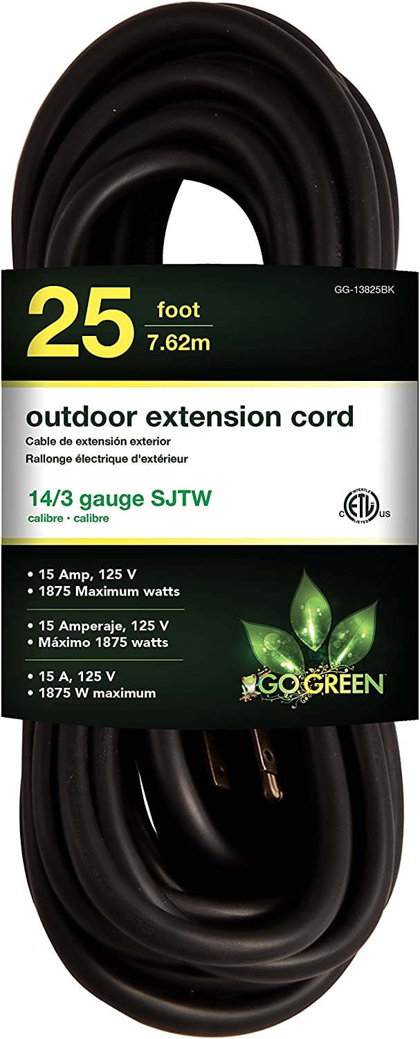 GoGreen Power GG-13825BK - 14/3 25' SJTW Outdoor Extension Cord - Black
