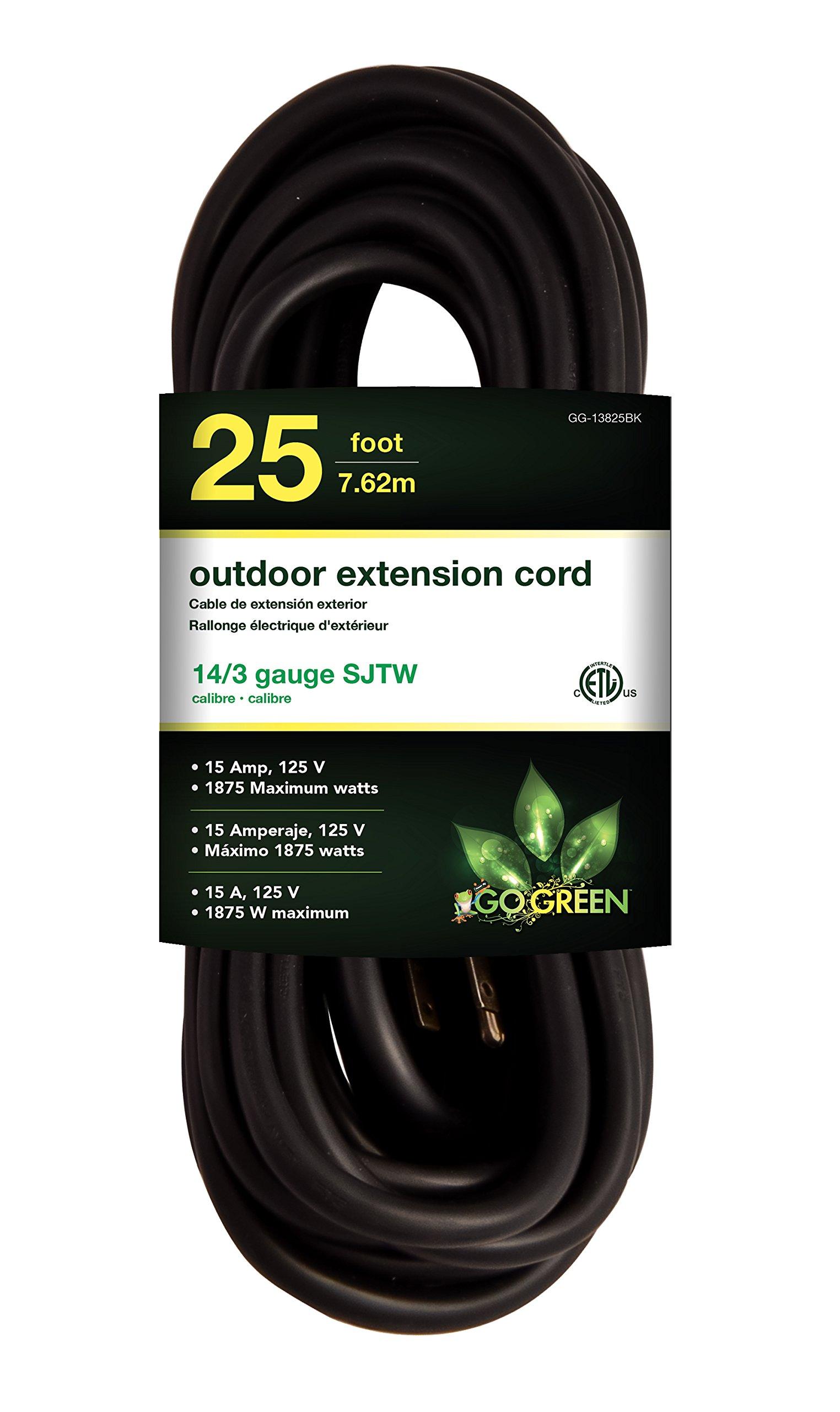 GoGreen Power GG-13825BK - 14/3 25' SJTW Outdoor Extension Cord - Black