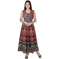 Jaipuri Fashionista Cotton Women's Maxi Long Dress Jaipuri Printed with Atteched Jacket (Free Size Upto 44-XXL)
