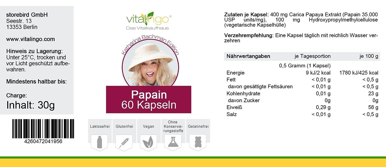 Katharina Bachman Papain enzima - 60 cápsulas à 500 mg ...