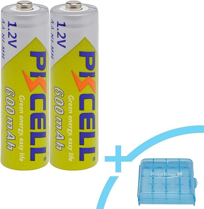 PKCELL baterías Ni-MH Mignon AA 600 mAh/1.2 V rechargeable recargable + Ruhr Base Caja/batería de caja – 2: Amazon.es: Electrónica