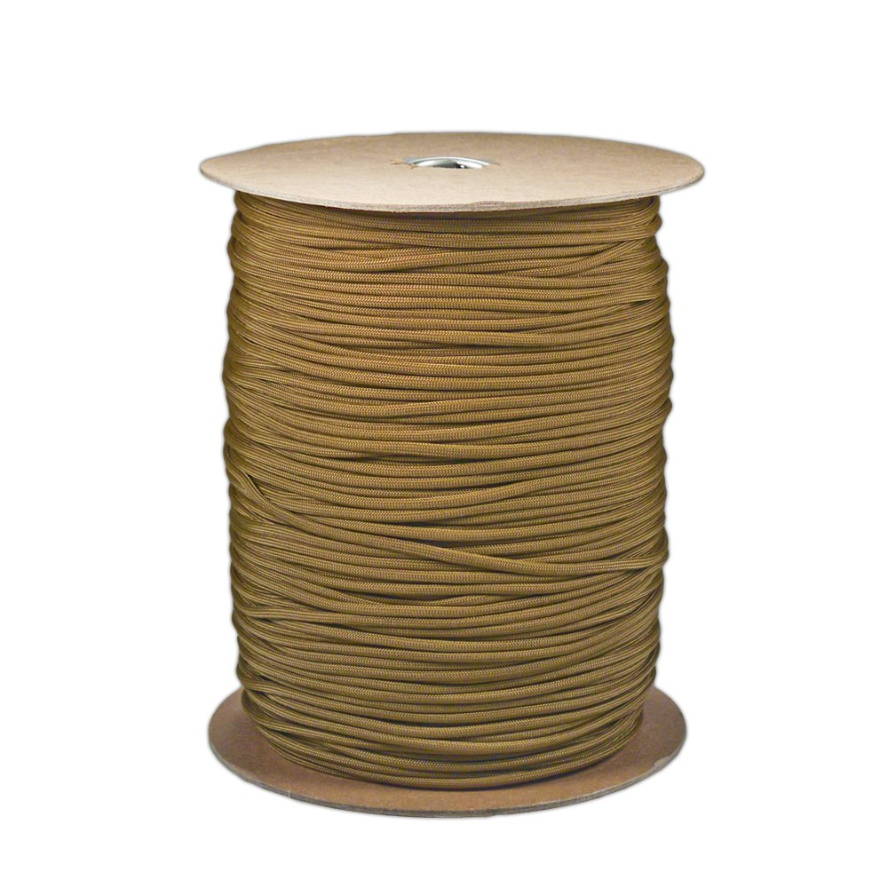 Paracord Planet Brand Nylon 550lb Type III Commercial Grade 7 Strand Paracord Made in USA 1000 Ft Spools (Coyote Brown)