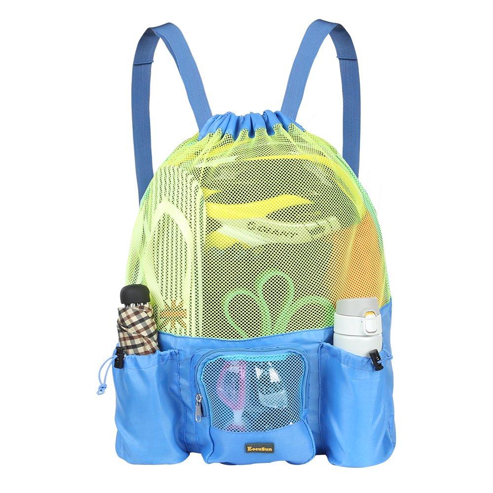 EocuSun Large Mesh Swimming Bag, Beach Drawstring Backpack, Mesh Mummy Backpack Beach Sports Gear Swim PE Gym Equipment Bag Sackpack Backpack for Men Women Boys Girls and Kids