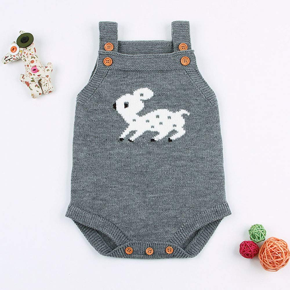kaiCran Toddler Newborn Baby Boys Girls Knitted Onesie Winter Romper Cute Deer Print Jumpsuit Outfits Kids