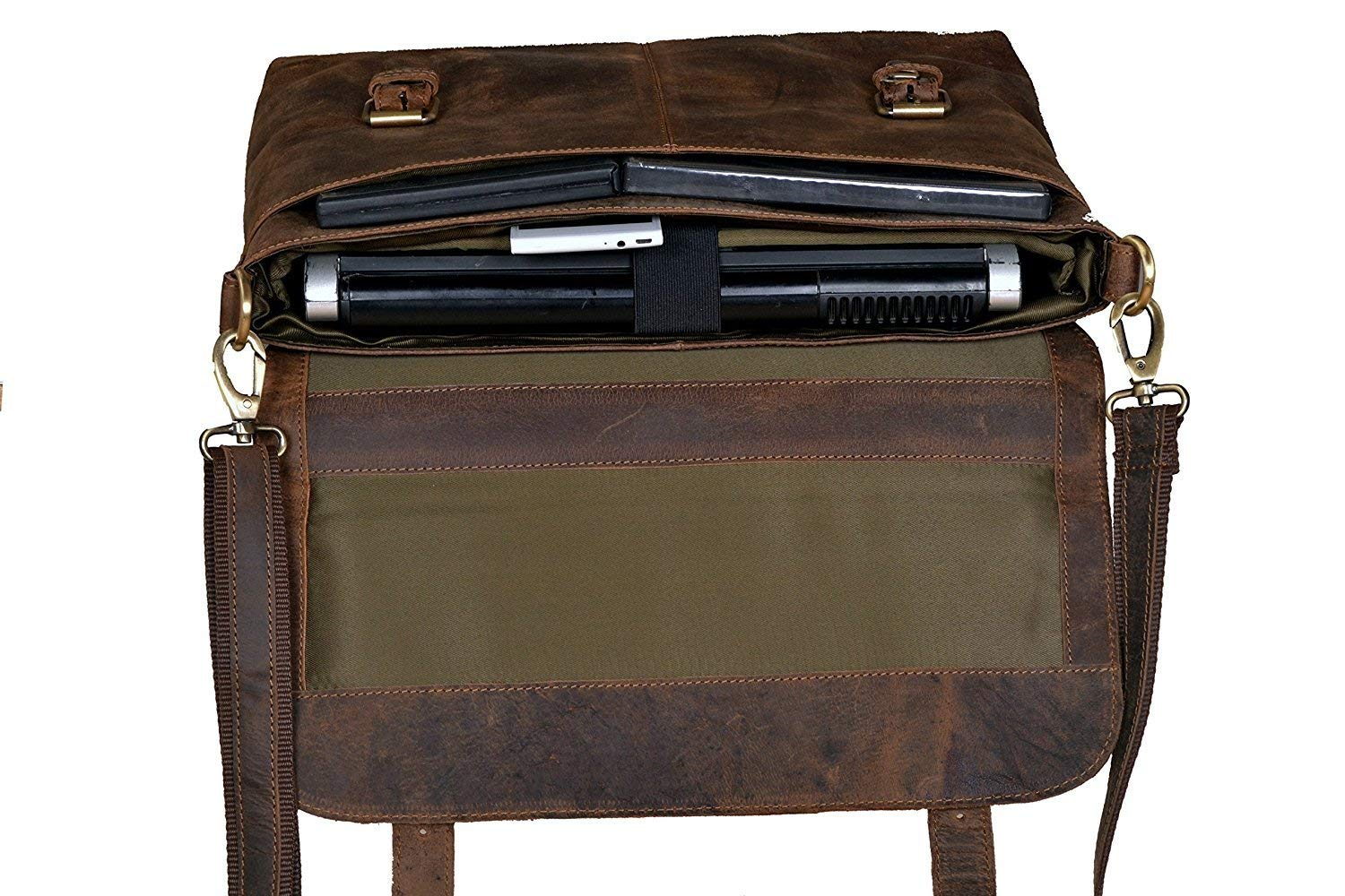 18 Inch Retro Buffalo Hunter Leather Laptop Messenger Bag Office Briefcase College Bag for Men and Women by handolederco. (Image #4)