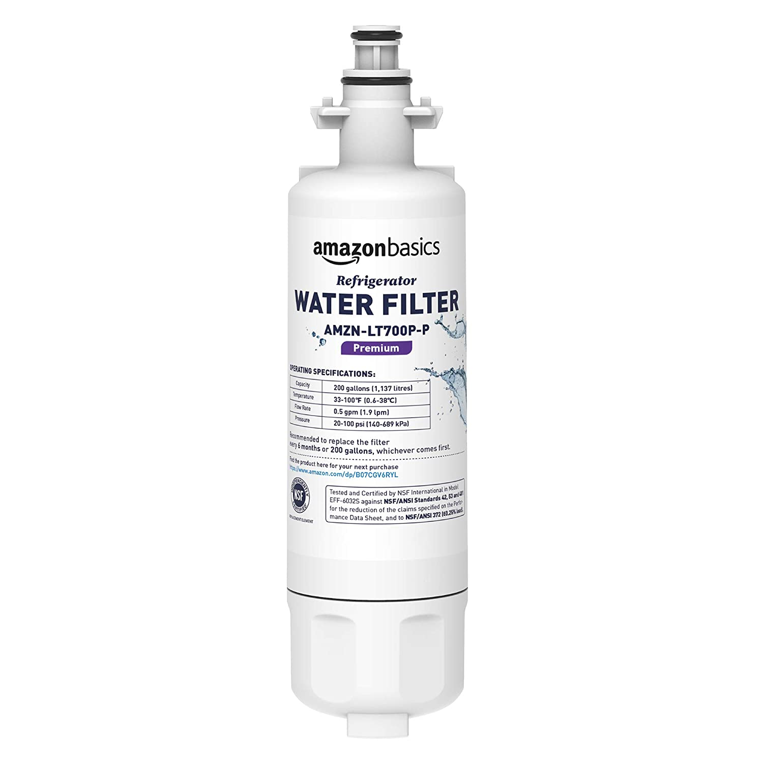 AmazonBasics Replacement LG LT700P Refrigerator Water Filter - Premium Filtration