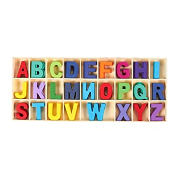 104-Piece Wooden Craft Letters with Storage Tray Set Kids Learning Toy Wooden Letters 2 inches Wooden Alphabet Letters for Home Decor Natural Color