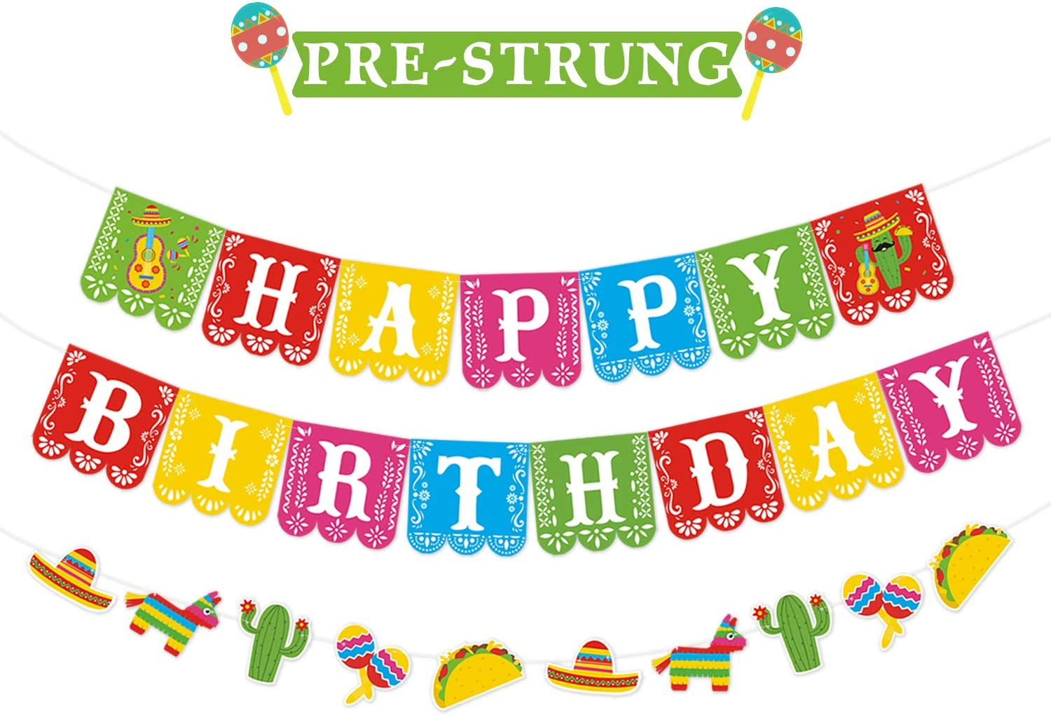 Happy Birthday Banner Mexican Themed Party Backdrops Decorations Set of 3