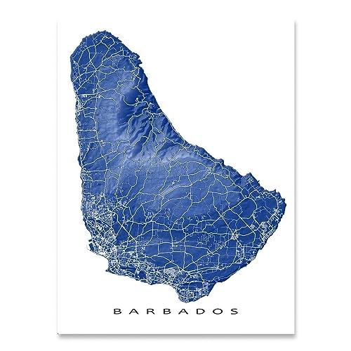 amazon com barbados map print caribbean island art street artwork