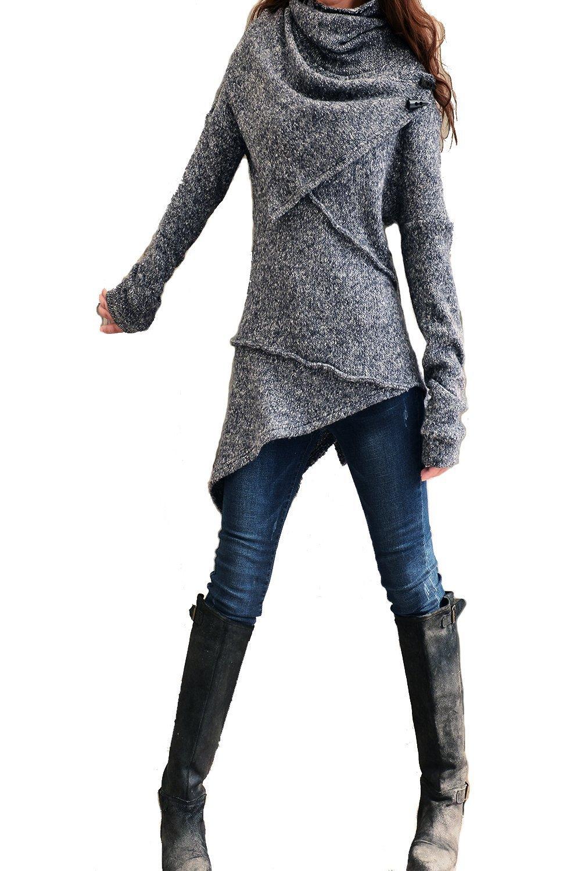Women's Asymmetrical Knit Sweater Dark Grey
