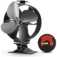 2019 Upgrade Ontworpen Stille Werking 4-Blades Grote Grootte Warmte Aangedreven Kachel Ventilator met Kachel Thermometer…