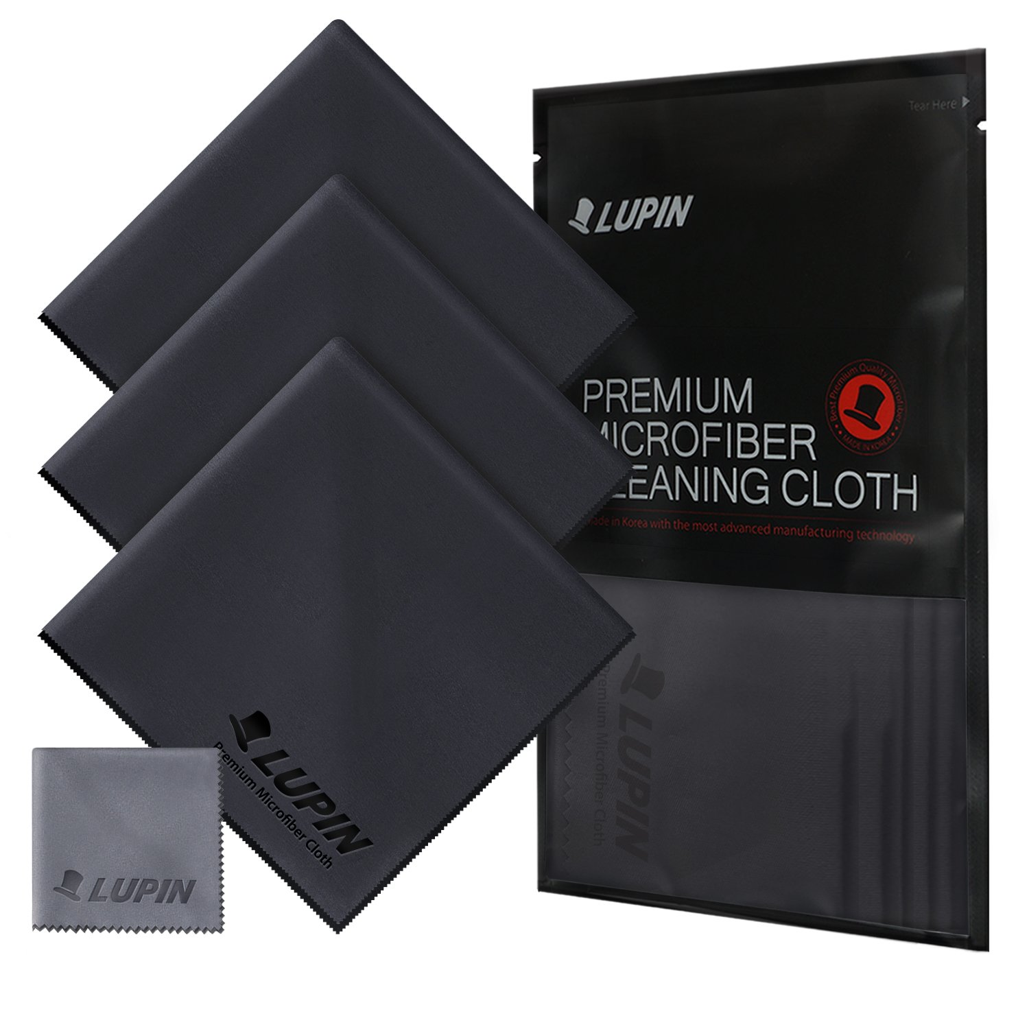 Lupin Microfiber Cleaning Cloths, Large 4 Pack Premium Ultra Lint Polishing Cloth for Cell Phone, Tablets, Laptops, iPad, Glasses, Auto Detail, TV Screens & Other Surfaces - Black