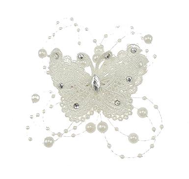 Damen Wunderschöne Spitze bestickt 7 cm Schmetterling Faux Perle ...
