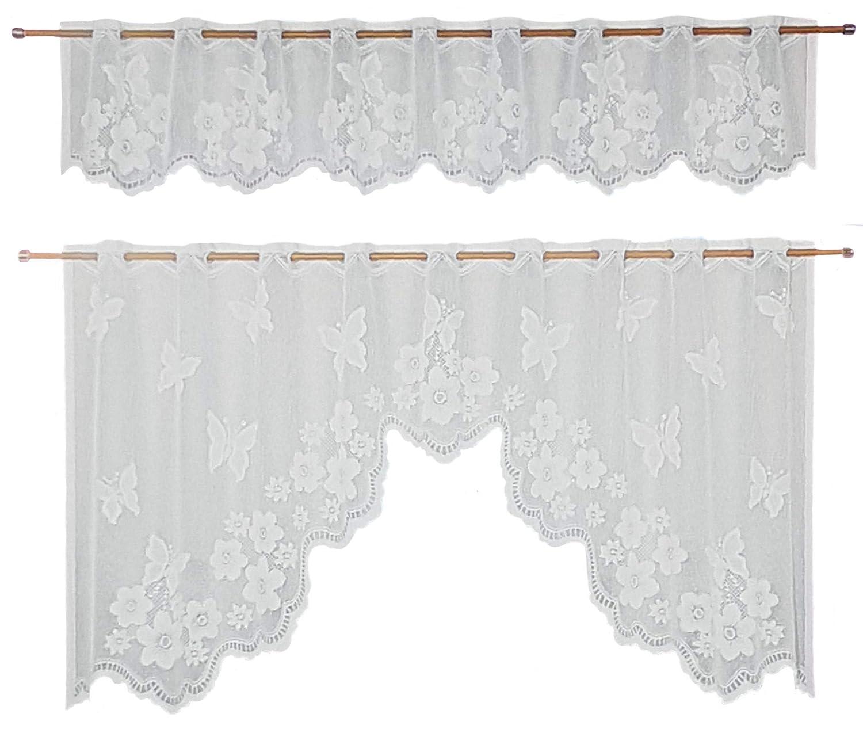 Ilkadim - Tende da cucina, 2 pezzi, dimensioni: 35 x 150 cm (esterno), 65 x 150 cm, colore: Bianco Weiß Kirschen colore: Bianco Weiß Kirschen