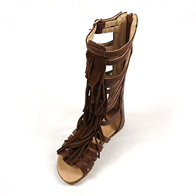 a447d2fe2231 Image Unavailable. Image not available for. Color  D.LIN Genuine Leather  Tassel Gladiator Sandals Baby Girls Knee High Summer Boots ...
