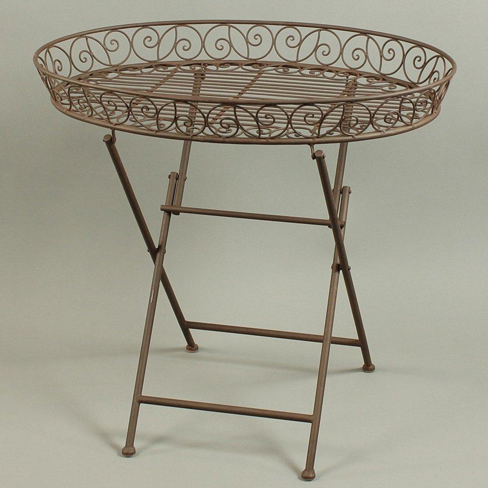 Landhaus Tabletttisch Tisch Klapptisch Dekotisch Landhaus oval Eisen rostbraun