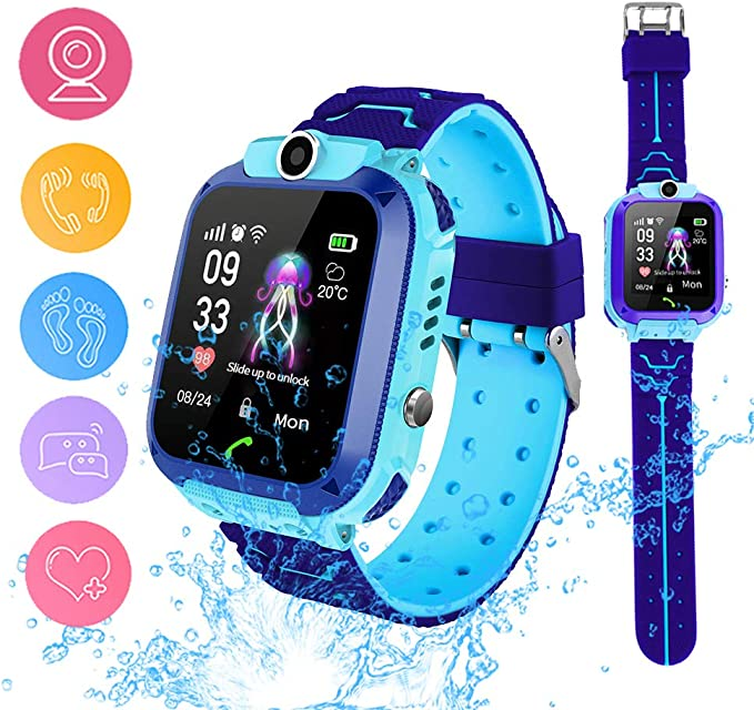 Smart Watch Phone for Kids, Waterproof Smartwatches with Tracker HD Touch Screen for kids Games SOS Alarm Clock Camera Digital Wrist Watch Smartwatch ...
