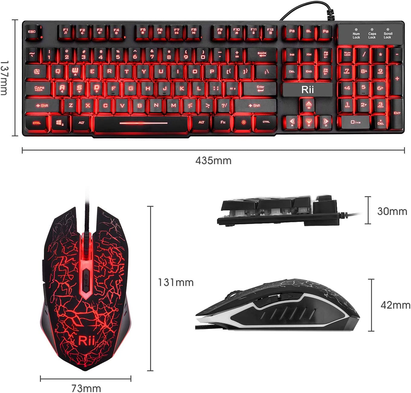 Rii RGB Backlit Keyboard,Gaming Keyboard and Mouse Combo,USB Wired Keyboard,RGB Optical Mouse for Gaming,Business Office