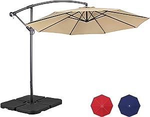 Yaheetech 10FT Patio Cantilever Umbrella Offset Umbrella Hanging Market Umbrella Outdoor Table Umbrella with 4-Piece Umbrella Base for Garden/Lawn/Deck/Backyard/Pool,Tan