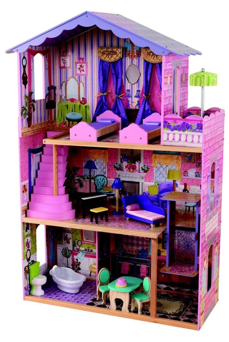 KidKraft My Dream Mansion Wooden Dollhouse with New Gliding Elevator and 13 P...