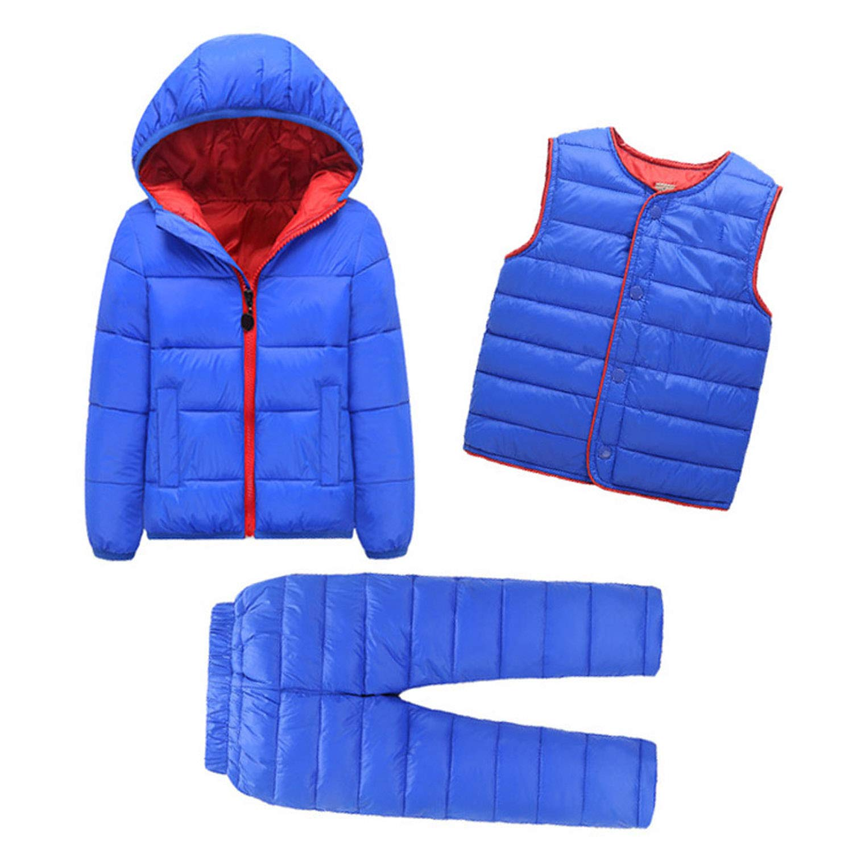 Mandaartins 2-7 Years 3Pcs Boys Coats and Pants Winter Snow Wear Girls Down Jackets