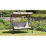 Luxury Beige 3 Seater Garden Swing Seat Hammock With Deep Cushions - Swing Bed - Adjustable Canopy