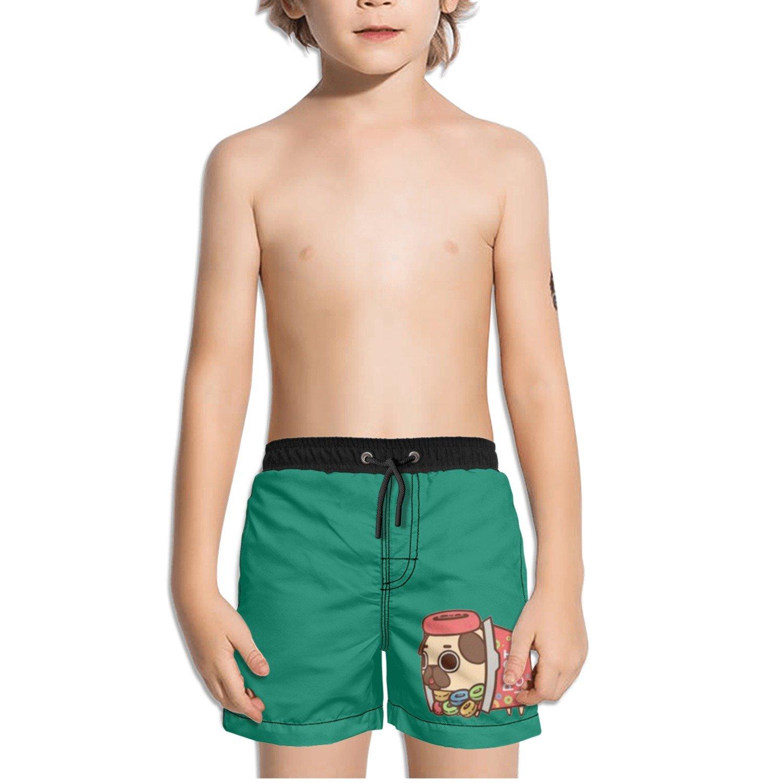 Juliuse Marthar Poot Loops Pug Gifts Green Swim Trunks Quick Dry Beach Board Shorts for Boys