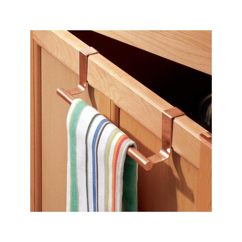 petit porte serviette salle de bain ou WC en m/étal accroche serviette pour les torchons dans la cuisine couleur cuivre iDesign porte serviette sans per/çage