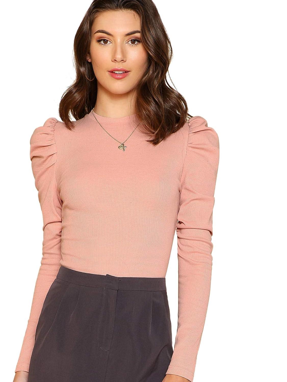 Pink Floerns Women's Puff Sleeve Round Neck Casual T Shirt