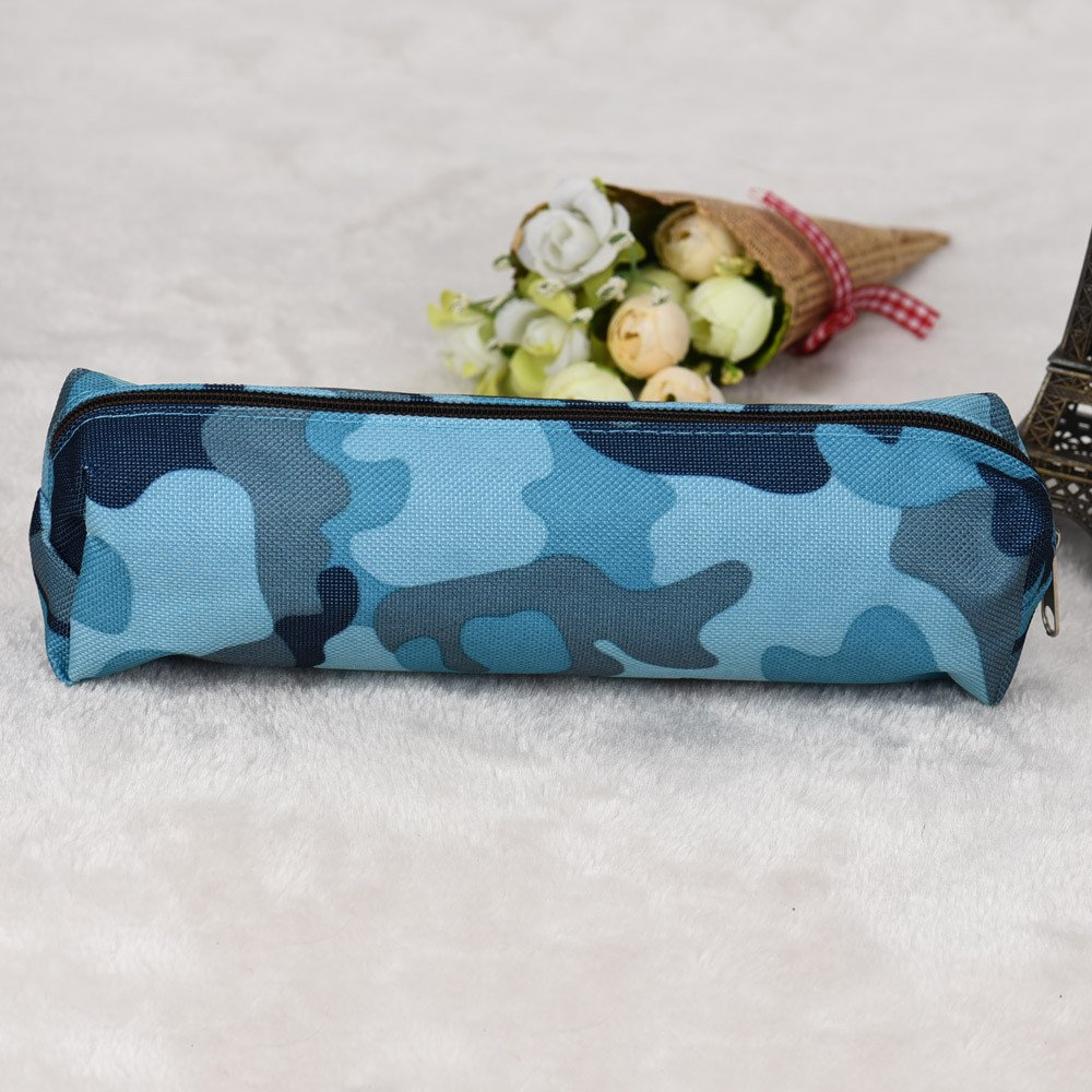 2 Colors Camouflage Pen Bag Pencil Case Pouch Stationery Cosmetic Makeup Bag uf (Blue) by Clearance! Bookear (Image #3)