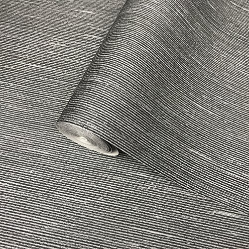 Modern Stripe Wallpaper (76 sq.ft Made in Italy Portofino textured wallcoverings rolls modern embossed Vinyl Non-Woven Wallpaper silver charcoal black metallic stria horizontal lines stripes textures plain paste the wall only)