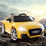 JAXPETY Audi TT 12V Electric Kids Ride On Car Licensed MP3 LED Lights RC Remote Control Yellow