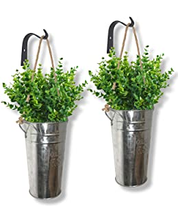 Lesen Galvanized Wall Hanging Planter, Farmhouse Rustic Home Wall Decor Metal Air Plant Vase Pot for Succulent or Flower Holder Indoor or Outdoor Set of 2