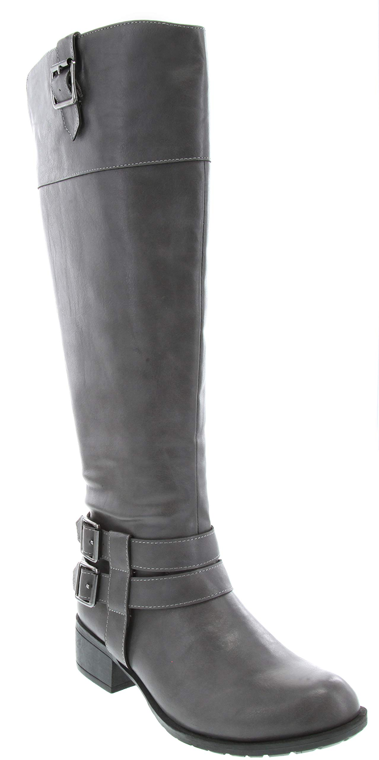 Rampage Womens Ingred Two Toned Riding Boot with Buckles 8 Grey