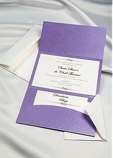 Horizon Pocket Folder Invitation Kit   Amethyst Shimmer   Pack Of 20