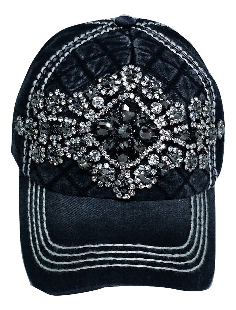 Olive & Pique Women's Harper Quilted Glitz Bling Baseball Cap (Black)