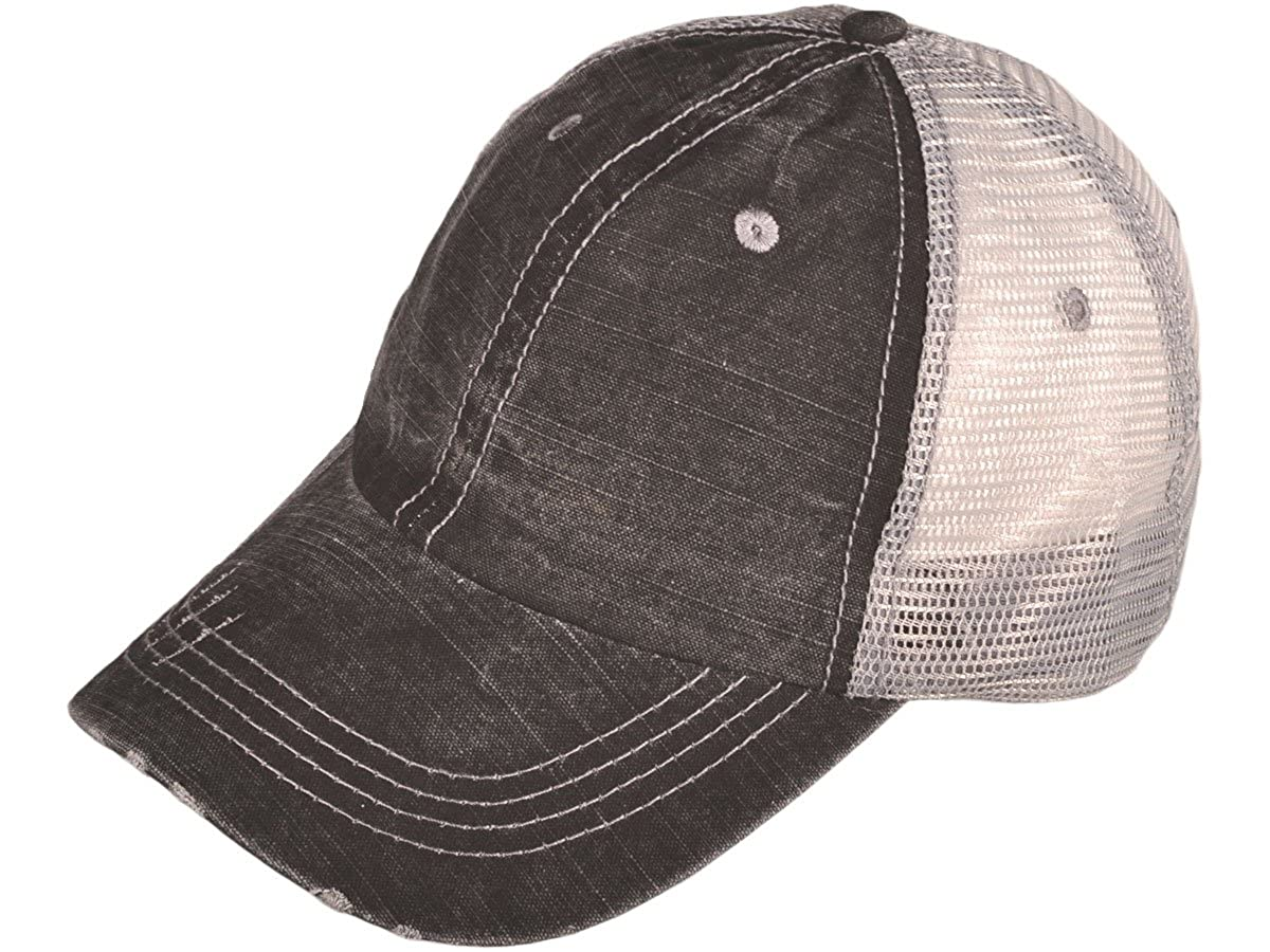 d09417fa94a704 Wholesale Low Profile Unstructured Special Washed Cotton Twill Distressed  Mesh Trucker Caps (Black) - 21504: Amazon.in: Clothing & Accessories