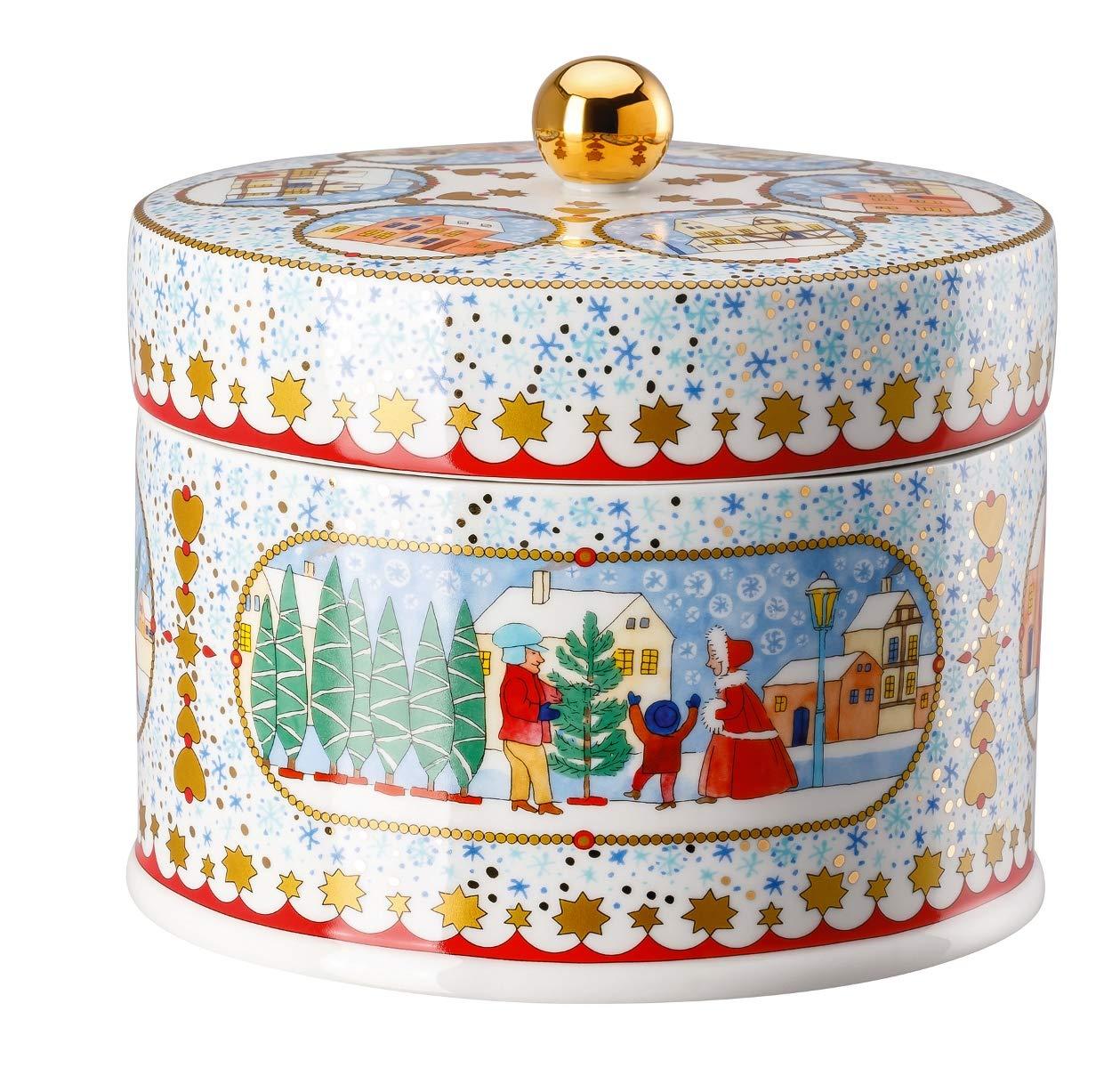17 x 17 x 15,5 cm Bunt Porzellandose Hutschenreuther Dose rund Weihnachtsmarkt Porzellan