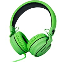 Rockpapa 952 Stereo Foldable Headphones On Ear with Microphone, Adjustable Headband for MP3/4 CD DVD in Car/Airplane Tablets Cellphone Laptop Black Green