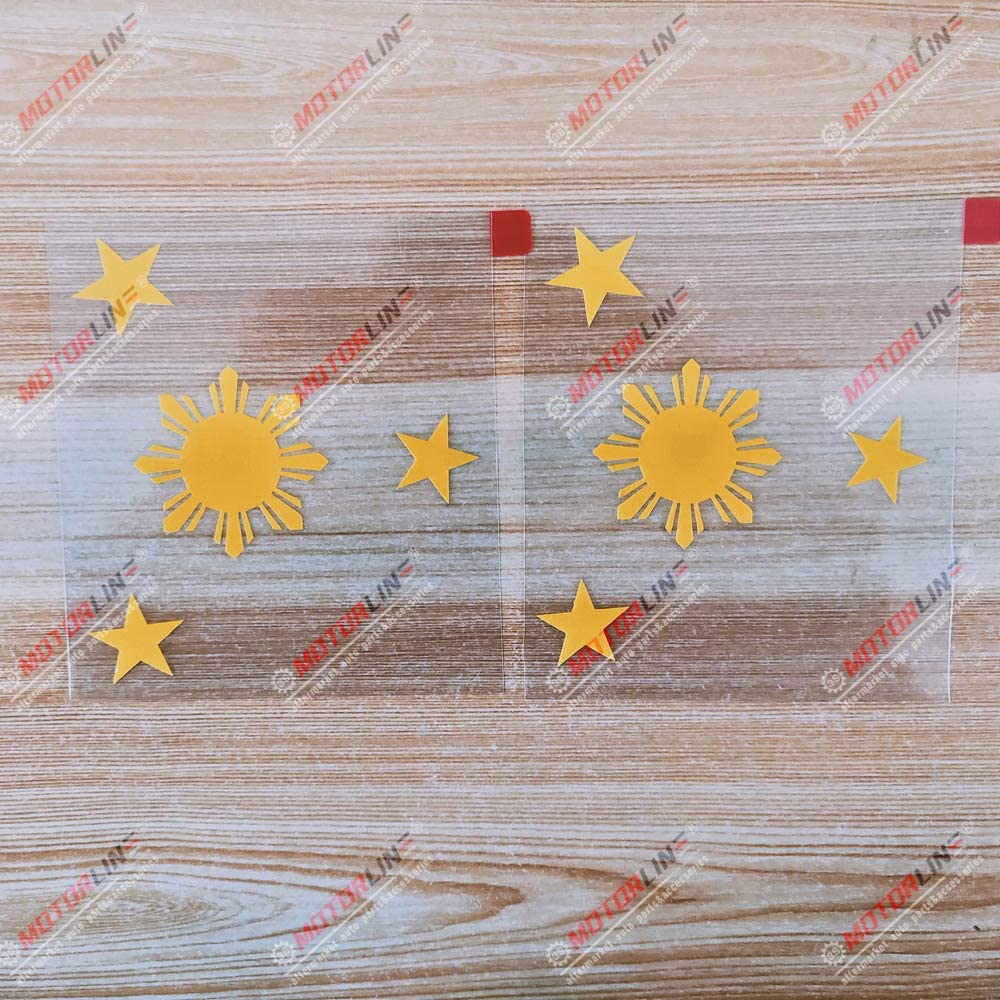 3S MOTORLINE 2X Yellow 4 Eight-ray Sun Star Philippines Flag Decal Sticker Car Vinyl Filipino Style b